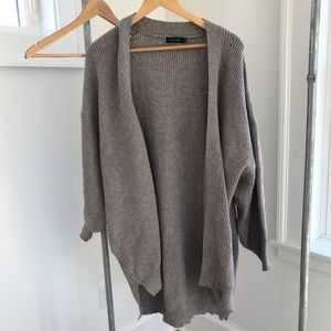 Sweaters - Oversized gray cardigan